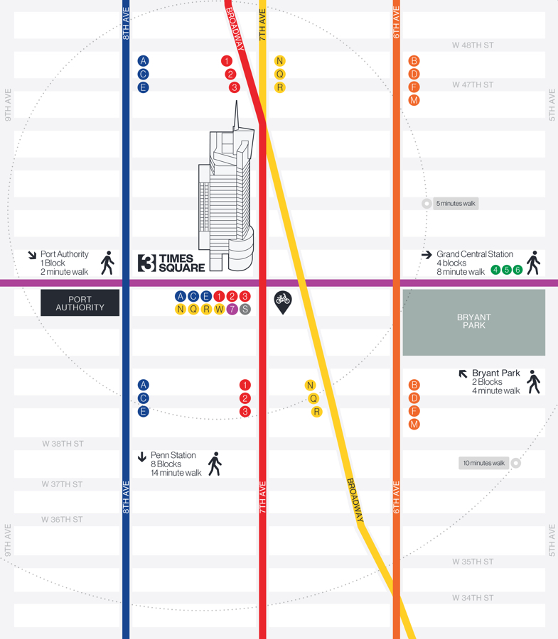 Transportation map 3 Times Square