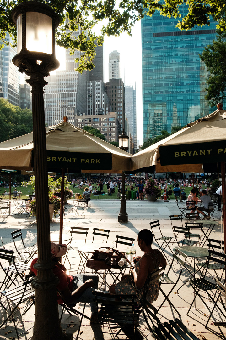 bryant park tables - 3 Times Square