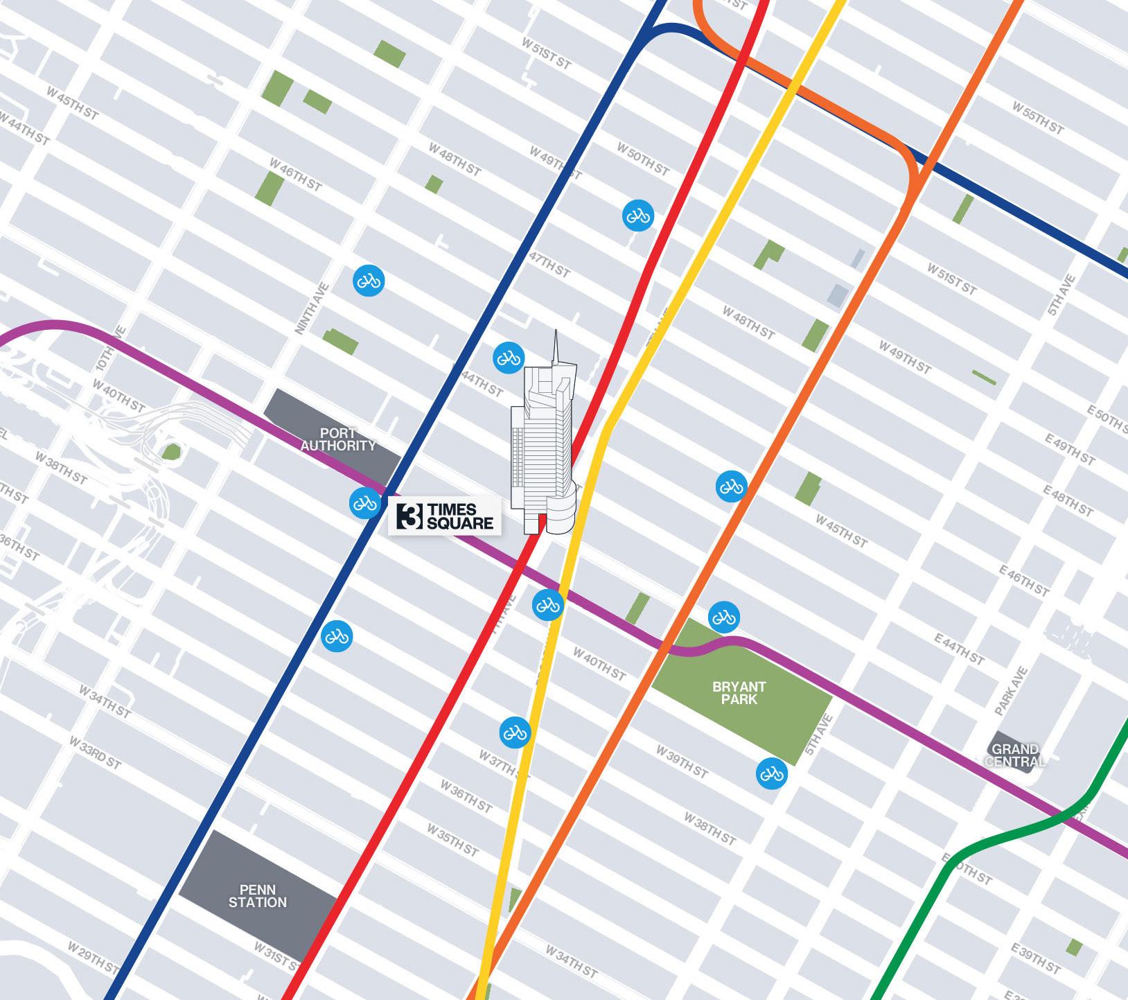 transportation map - 3 Times Square