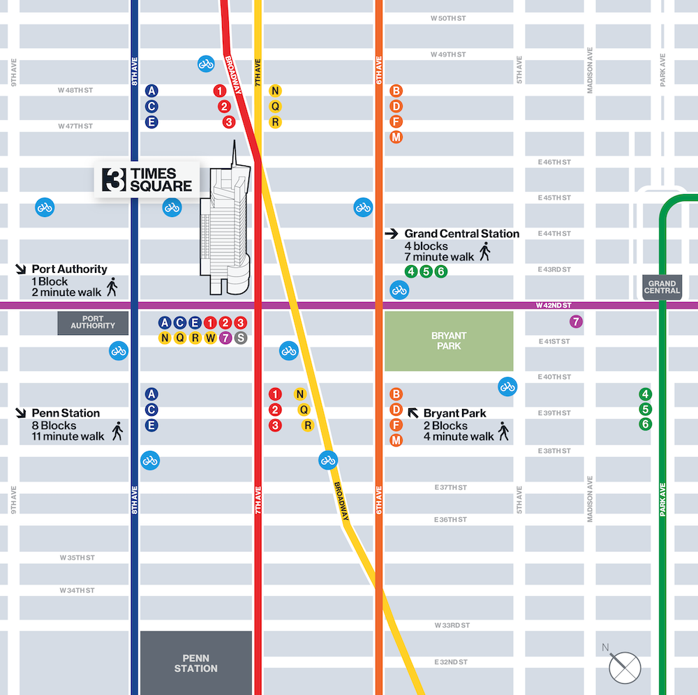 transportation map - 3 Times Square